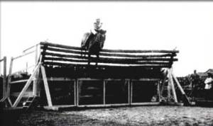 The world record high jump, completed by Huaso and Captain Alberto Larraguibel in 1949 Picture from https://en.wikipedia.org